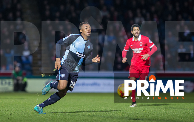 Jermaine Udumaga of Wycombe Wanderers in action during the Sky Bet League 2 match between Wycombe Wanderers and Leyton Orient at Adams Park, High Wycombe, England on 23 January 2016. Photo by Andy Rowland / PRiME Media Images.