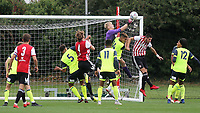 Huddersfield Town goalkeeper Ryan Schofield punches the ball clear during Brentford B vs Huddersfield Town Under-23, Friendly Match Football at Brentford FC Training Ground, Jersey Road on 12th September 2018