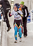 8 January 2016: Kim Meylemans, competing for Belgium, gives a two thumbs up to her coach after completing her second run of the BMW IBSF World Cup Skeleton race with a combined 2-run time of 1:51.69, earning an 11th place finish for the day at the Olympic Sports Track in Lake Placid, New York, USA. Mandatory Credit: Ed Wolfstein Photo *** RAW (NEF) Image File Available ***