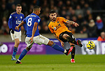 Youri Tielemans of Leicester City and Ruben Neves of Wolverhampton Wanderers during the Premier League match at Molineux, Wolverhampton. Picture date: 14th February 2020. Picture credit should read: Darren Staples/Sportimage