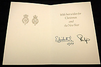 BNPS.co.uk (01202 558833)<br /> Pic: MooreAllen&amp;Innocent/BNPS<br /> <br /> The Queen and Prince Philip 1988 card.<br /> <br /> A comprehensive collection of Christmas cards sent by the Queen and Prince Philip over a 30 year period have emerged to highlight the fascinating changes of the Royal Family.<br /> <br /> The 31 greetings cards carry various images of the Royal couple on the front along with different members of their family.<br /> <br /> They were sent every year without fail from 1971 through to 2001 to the unnamed recipient, who was clearly an acquaintance of the Queen.<br /> <br /> The first card features a formal photograph of the Queen, the Duke of Edinburgh, a 23-year-old Prince Charles, Princess Anne, Prince Andrew, aged 11 and seven-year-old Prince Edward.<br /> <br /> They are being sold in Cirencester on Friday.