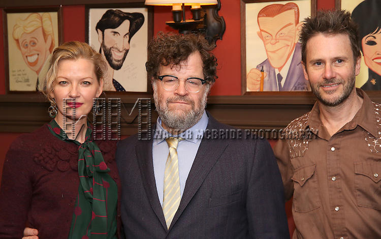 Gretchen Mol, Kenneth Lonergan, Josh Hamilton attend the unveiling of the Kenneth Lonergan caricature at Sardi's on February 17, 2017 in New York City.