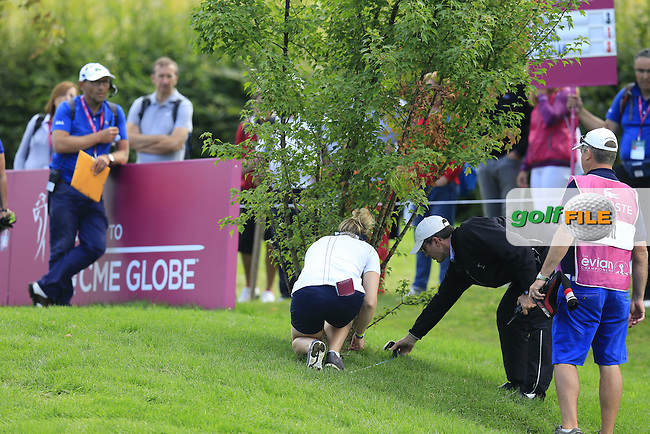 Charley Hull (ENG) in the bushes on the 13th hole during Sunday's Final Round of the LPGA 2015 Evian Championship, held at the Evian Resort Golf Club, Evian les Bains, France. 13th September 2015.<br /> Picture Eoin Clarke | Golffile