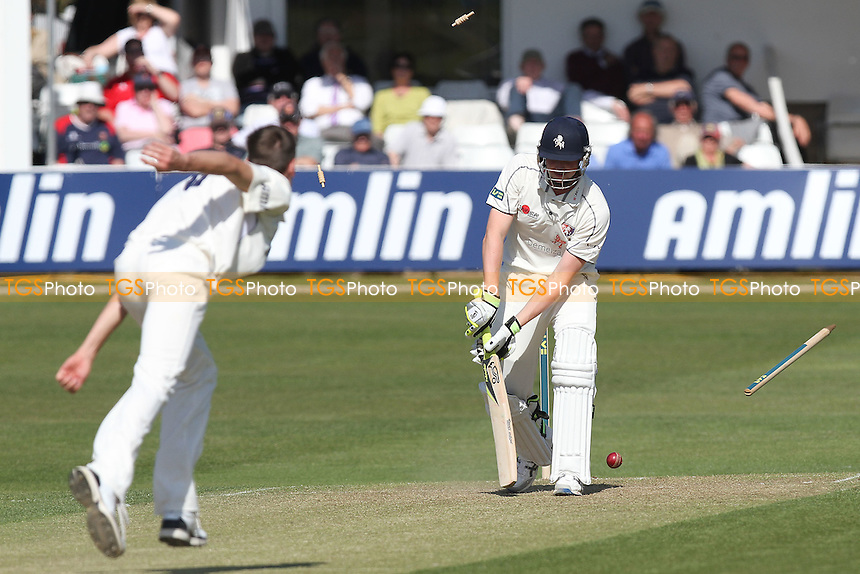 Alex Blake of Kent is bowled out by Reece Topley of Essex - Essex CCC vs Kent CCC - LV County Championship Division Two Cricket at The Ford County Ground, Chelmsford - 08/04/11 - MANDATORY CREDIT: Gavin Ellis/TGSPHOTO - Self billing applies where appropriate - Tel: 0845 094 6026