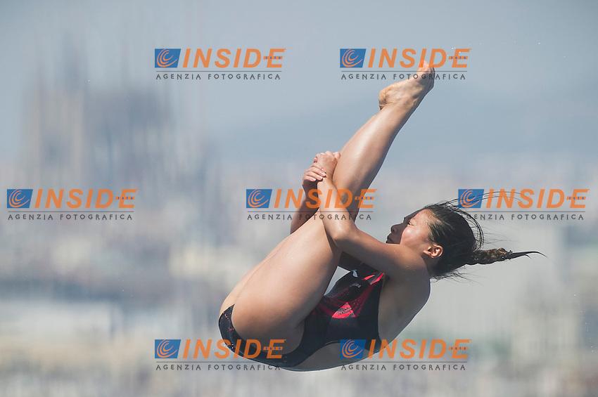 He Zi CHN<br /> Women's 1m springboard preliminaries<br /> 15th FINA World Aquatics Championships<br /> Barcelona 19 July - 4 August 2013<br /> Piscina Municipal de Montjuic, Barcelona (Spain) 21/07/2013 <br /> &copy; Giorgio Perottino / Deepbluemedia.eu / Insidefoto
