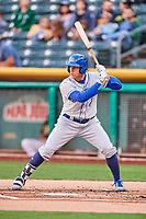 Garin Cecchini (7) of the Omaha Storm Chasers bats against the Salt Lake Bees in Pacific Coast League action at Smith's Ballpark on May 8, 2017 in Salt Lake City, Utah. Salt Lake defeated Omaha 5-3. (Stephen Smith/Four Seam Images)