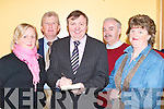 MEETING: At the public meeting on Primary School class sizes held by the INTO at the Brandon Hotel, Tralee, on Thursday night were, l-r: Alice Moylu, Micheal O Cinneide (Tralee INTO), John Carr (General Secretary INTO), Dan Dowling (Castleisland) and Julie O'Connor (Tralee)..