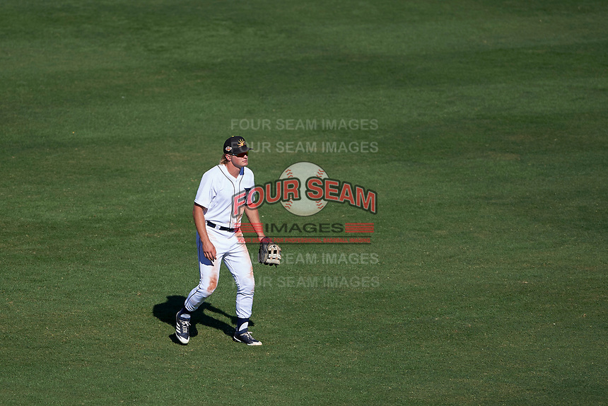 Mesa Solar Sox outfielder Cam Gibson (3), of the Detroit Tigers organization, during an Arizona Fall League game against the Scottsdale Scorpions on October 24, 2017 at Sloan Park in Mesa, Arizona. The Scorpions defeated the Solar Sox 3-1. (Zachary Lucy/Four Seam Images)