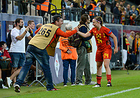 20190903 - LEUVEN , BELGIUM : Dutch photographer Dave Rietbergen pictured with Belgian Davinia Vanmechelen during the female soccer game between the Belgian Red Flames and Croatia , the first womensoccer game for Belgium in the qualification for the European Championship round in group H for England 2021, Tuesday 3 th September 2019 at the King Power Stadion Den Dreef in Leuven , Belgium. PHOTO SPORTPIX.BE | DAVID CATRY