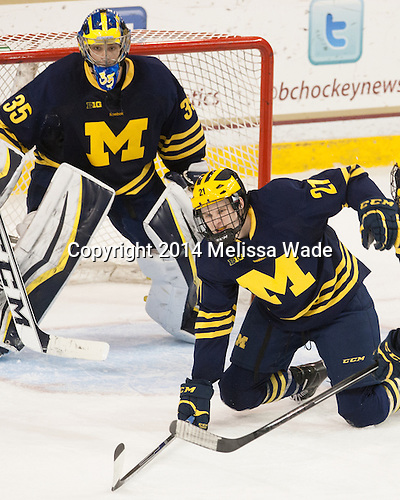 Zach Nagelvoort (Michigan - 35), Nolan De Jong (Michigan - 21)<br />  - The Boston College Eagles defeated the visiting University of Michigan Wolverines 5-1 (EN) on Saturday, December 13, 2014, at Kelley Rink in Conte Forum in Chestnut Hill, Massachusetts.
