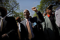 Former President of Ethiopia Dr Negasso Gidada Solon ( center ) chants slogans during a demonstration of the main Ethiopian opposition political party Union for Democracy and Justice to protest against their leader Birtukan Medeksa's imprisonment  In Ethiopia's capital Addis Ababa on Thursday April 16 2009.///..Ms Birtukan is a former judge and was one of the younger and more .charismatic leaders of the coalition which did well against the ruling .party in the 2005 elections. .She would have probably been the front runner against the ruling party EPRDF's leader Prime Minister Meles Zenawi in the upcoming 2010 political election..Ethiopia's election record is tragic with hundreds of  deaths and thousand of arrests during the last political election in 2005. 2008's local election saw the ruling party get almost 100% of votes...