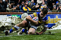 Leeds Rhinos' Tom Briscoe scores his side's second try<br /> <br /> Photographer Alex Dodd/CameraSport<br /> <br /> Betfred Super League Round 5 - Leeds Rhinos v Hull FC - Thursday 8th March 2018 - Headingley Carnegie Stadium - Leeds<br /> <br /> World Copyright &copy; 2018 CameraSport. All rights reserved. 43 Linden Ave. Countesthorpe. Leicester. England. LE8 5PG - Tel: +44 (0) 116 277 4147 - admin@camerasport.com - www.camerasport.com