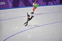 OLYMPIC GAMES: PYEONGCHANG: 10-02-2018, Gangneung Oval, Long Track, 3000m Ladies, Maryna Zuyeva (BLR), Ayaka Kikuchi (JPN), ©photo Martin de Jong