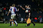 Blackburn Rovers 3, Huddersfield Town 1, 22/09/2005. Ewood Park, Carling Cup. Rovers' midfielder Robbie Savage discussing the first-half action with referee Lee Propert. Photo by Colin McPherson.
