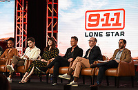 2020 FOX WINTER TCA: (L-R): 9-1-1: LONE STAR cast members Sierra McClain, Ronen Rubinstein, Liv Tyler, cast member/Co-Executive Producer Rob Lowe, Co-Creator/Co-Executive Producer/Showrunner Tim Minear and Executive Producer Rashid Raisani during the 9-1-1: LONE STAR panel at the 2020 FOX WINTER TCA at the Langham Hotel, Tuesday, Jan. 7 in Pasadena, CA. © 2020 Fox Media LLC. CR: Frank Micelotta/FOX/PictureGroup