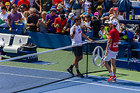 NEW YORK, USA - August 22 : Roger Federer during his practice match with Dominic Thiem on August 22, 2019 in New York, USA.<br /> People attend US Open the fan week with Featured practice matches with Roger Federer and Novak Djokovic <br /> (Photo by Luis Boza/VIEWpress)
