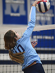 Jerseyville's Abby Manns hits the ball over to Marquette. Jerseyville played at Alton Marquette in a girls volleyball game on Wednesday September 11, 2018.<br /> Tim Vizer/Special to STLhighschoolsports.com