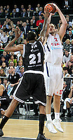 28.03.2012 Bilbao, Spain. Euroleague Playoff game 3. Picture show Nenad Krstic (R) and D'Or Fischer in action  during match betwen Gescrap BB againts CSKA Moscow at Bilbao Arena