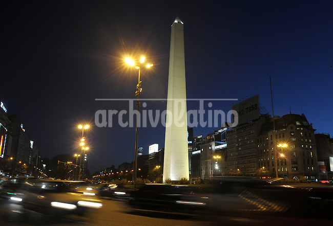 Night view of the Obelisk, a trade mark of Buenos Aires city at  the cross of Corrientes and July 9th Avenues.