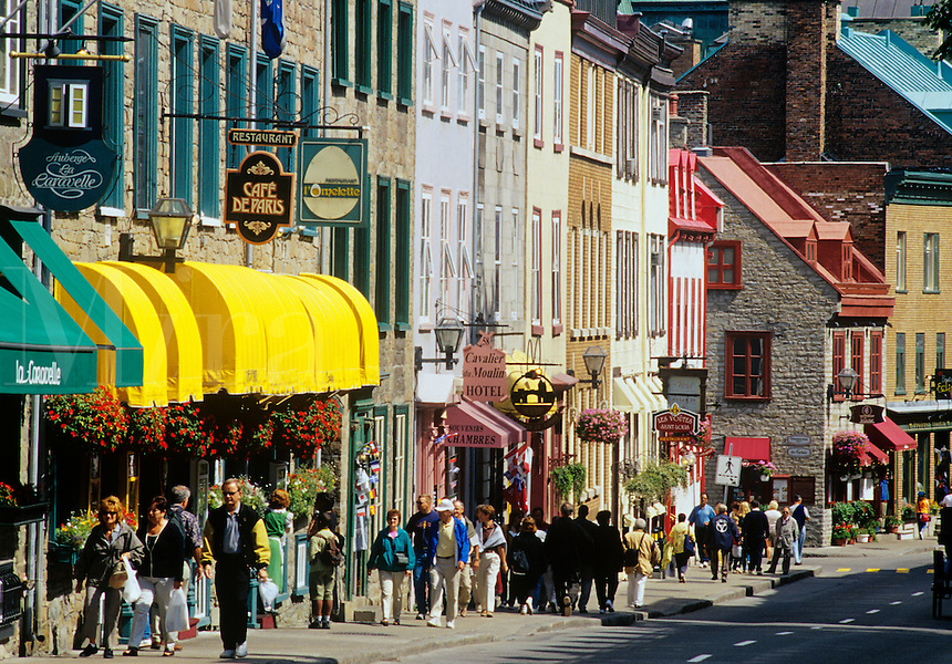 Boutiques and restaurants along Rue Saint-Louis in Vieux-Quebec. Quebec City, Quebec, Canada