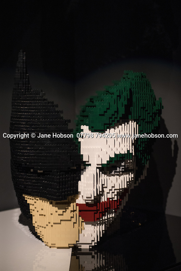 London, UK. 28.02.2017. THE ART OF THE BRICK: DC SUPER HEROES - Artist Nathan Sawaya returns to London with the world's largest LEGO exhibition, inspired by Batman, Superman, and Wonder Woman. The exhibition opens, in a purpose-built marquee in Doon Street car park, Upper Ground, on the South Bank. Picture shows: Necessary Evil. Photograph © Jane Hobson.