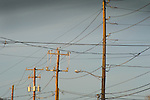 Sky, power lines and utility poles.