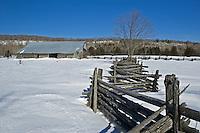 Split rail (snake) fence inwinter. Sheguindah.<br /> Manitoulin Island<br /> Ontario<br /> Canada