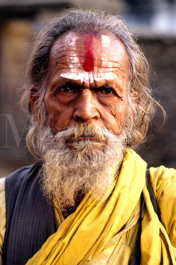 Close up of religious man with wonderful character in Kathmandu Nepal Katmandu