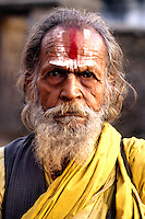 Close up of religious man with wonderful character in Kathmandu Nepal Katmandu