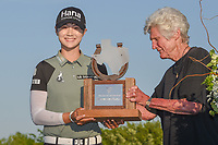 Kathy Whitworth present Sung Hyun Park (KOR) the trophy for winning the Volunteers of America LPGA Texas Classic, at the Old American Golf Club in The Colony, Texas, USA. 5/6/2018.<br /> Picture: Golffile | Ken Murray<br /> <br /> <br /> All photo usage must carry mandatory copyright credit (&copy; Golffile | Ken Murray)