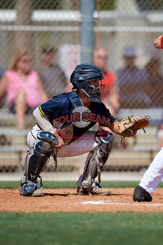 Colin Burgess during the WWBA World Championship at the Roger Dean Complex on October 18, 2018 in Jupiter, Florida.  Colin Burgess is a catcher from Lexington, Kentucky who attends Tates Creek High School and is committed to Wichita State.  (Mike Janes/Four Seam Images)