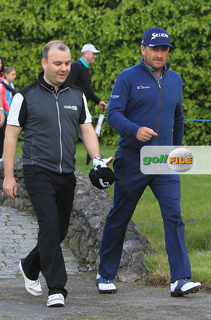 Peter Finnan (AM) and Graeme McDowell (NIR) on the 14th during Wednesday's Pro-Am round of the Dubai Duty Free Irish Open presented  by the Rory Foundation at The K Club, Straffan, Co. Kildare<br /> Picture: Golffile | Thos Caffrey<br /> <br /> All photo usage must carry mandatory copyright credit <br /> (&copy; Golffile | Thos Caffrey)