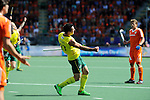 The Hague, Netherlands, June 15: Kieran Govers #27 of Australia celebrates after scoring a field goal give the Kookaburras a 2-1 lead during the field hockey gold match (Men) between Australia and The Netherlands on June 15, 2014 during the World Cup 2014 at Kyocera Stadium in The Hague, Netherlands. Final score 6-1 (2-1)  (Photo by Dirk Markgraf / www.265-images.com) *** Local caption ***