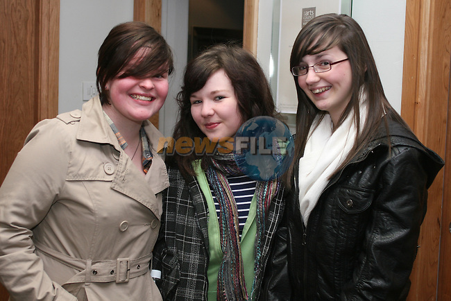 """Niamh Conway, Clare Mullaniff and Amy McGuinness at """"Oliver"""" in The Droichead Arts Centre...Photo NEWSFILE/Jenny Matthews.(Photo credit should read Jenny Matthews/NEWSFILE)....This Picture has been sent you under the condtions enclosed by:.Newsfile Ltd..The Studio,.Millmount Abbey,.Drogheda,.Co Meath..Ireland..Tel: +353(0)41-9871240.Fax: +353(0)41-9871260.GSM: +353(0)86-2500958.email: pictures@newsfile.ie.www.newsfile.ie.FTP: 193.120.102.198."""