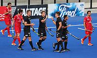 Steve Edwards scores during the Pro League Hockey match between the Blacksticks men and the Spain, Nga Punawai, Christchurch, New Zealand, Sunday 16 February 2020. Photo: Simon Watts/www.bwmedia.co.nz