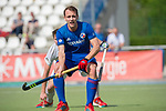 GER - Mannheim, Germany, April 15: During the field hockey 1. Bundesliga match between Mannheimer HC (blue) and Rot-Weiss Koeln (white) on April 15, 2018 at Am Neckarkanal in Mannheim, Germany. Final score 2-2. (Photo by Dirk Markgraf / www.265-images.com) *** Local caption *** Felix Schues #19 of Mannheimer HC