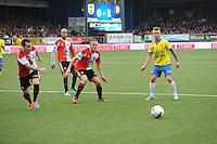 VOETBAL: LEEUWARDEN: 26-10-2014, Canbuurstadion, Cambuur - Feyenoord, uitslag 0-1, Luke Wilkshire (Feyenoord | #2), Jens Toornstra (Feyenoord | #28), Albert Rusnák (Cambuur | #11), ©foto Martin de Jong