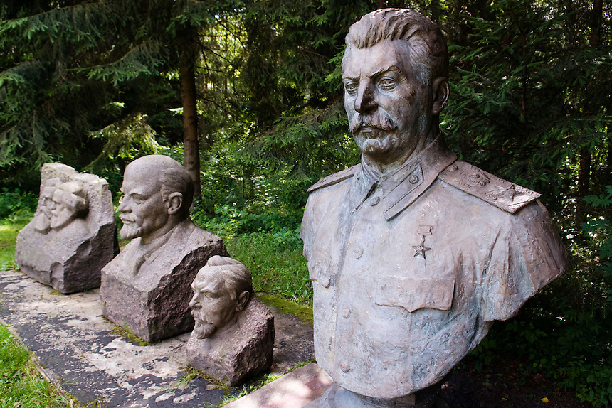 Statues of Stalin, Lenin, Dzerdginski, Marx and Engels displayed in Grutas Park in Lithuania. Grutas Park  is a sculpture garden of Soviet-era statues and an exposition of other Soviet ideological relics from the times of the Lithuanian SSR. On the display are 86 statues. Its founder Malinauskas won the 2001  Nobel Peace Prize for the Park known also as a Stalin's world.