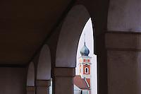 Church tower in Illmitz city, Illmitz, National Park Lake Neusiedl, Burgenland, Austria, April 2007
