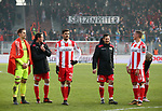 10.02.2018, Stadion an der Wuhlheide, Berlin, GER, 2.FBL, 1.FC UNION BERLIN  VS. Fortuna Duesseldorf, im Bild <br /> Daniel Mesenhoeler (1.FC Union Berlin #1), Stephan Fuerstner (1.FC Union Berlin #8), Christopher Trimmel (1.FC Union Berlin #28), Steven Skrzybski (1.FC Union Berlin #24), Grischa Proemel (1.FC Union Berlin #21)<br /> <br />      <br /> Foto &copy; nordphoto / Engler