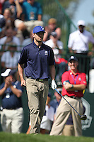 Singer Justin Timberlake on the 1st  during the Captain/Celebrity scramble exhibition at the Ryder Cup 2012, Medinah Country Club,Medinah, Illinois,USA.Picture: Fran Caffrey/www.Golffile.ie.