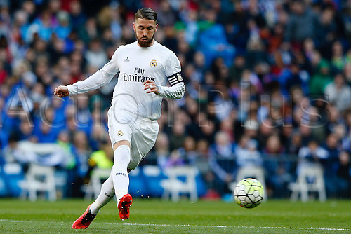 05.03.2016.  Madrid, Spain.  Sergio Ramos Garcia (4) Real Madrid. La Liga between Real Madrid versus Celta de Vigo at the Santiago Bernabeu stadium in Madrid, Spain
