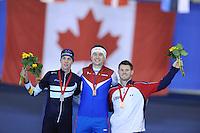 SPEEDSKATING: CALGARY: 15-11-2015, Olympic Oval, ISU World Cup, Podium 1500m Men, Bart Swings (BEL), Denis Yuskov (RUS), Joey Mantia (USA), ©foto Martin de Jong