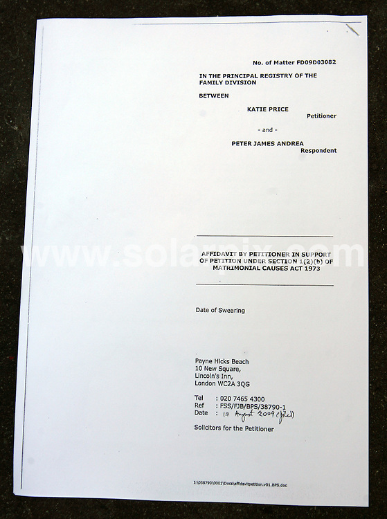 **ALL ROUND PICTURES FROM SOLARPIX.COM**.**WORLDWIDE SYNDICATION RIGHTS**.Peter Andre and Katie Price aka Jordan got divorced today at the High Court Of Justice, Principal Registry of the Family Division, High Court, Holborn, London, UK. 8 September 2009..This pic: Divorce Papers..JOB REF: 9918 SKD       DATE: 08_09_2009.**MUST CREDIT SOLARPIX.COM OR DOUBLE FEE WILL BE CHARGED**.**MUST NOTIFY SOLARPIX OF ONLINE USAGE**.**CALL US ON: +34 952 811 768 or LOW RATE FROM UK 0844 617 7637**