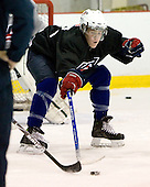 Jake Gardiner (US White 7) - US players take part in practice on Friday morning, August 8, 2008, in the NHL Rink during the 2008 US National Junior Evaluation Camp and Summer Hockey Challenge in Lake Placid, New York.