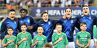 Lorenzo Pellegrini of Italy, Moise Kean of Italy, Federico Chiesa of Italy, Nicolo Zaniolo of Italy, Gianluca Mancini of Italy scream during the hymn <br /> Bologna 16-06-2019 Stadio Renato Dall'Ara <br /> Football UEFA Under 21 Championship Italy 2019<br /> Group Stage - Final Tournament Group A<br /> Italy - Spain <br /> Photo Andrea Staccioli / Insidefoto