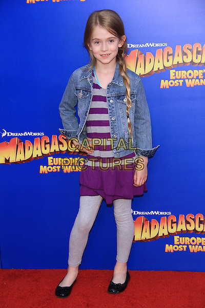 "Ashley Gerasimovich.The New York Premiere of ""Madagascar 3: Europe's Most Wanted"" held at Ziegfeld Theater, New York, NY, USA..June 7th, 2012.full length jean denim jacket grey gray purple striped stripes dress hand on hip leggings .CAP/LNC/TOM.©LNC/Capital Pictures."