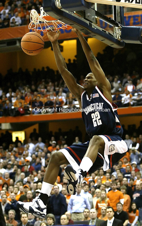 SYRACUSE, NY 16 JANUARY 2005 011605BZ18-      UConn #22, Rudy Gay slams one against Syracuse <br /> during their game at the carrier Dome at Syracuse University Monday night. <br /> Jamison C. Bazinet Republican-American