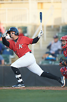 Tate Blackman (20) of the Kannapolis Intimidators follows through on his swing against the Lakewood BlueClaws at Kannapolis Intimidators Stadium on April 5, 2018 in Kannapolis, North Carolina.  The Intimidators defeated the BlueClaws 4-3.  (Brian Westerholt/Four Seam Images)