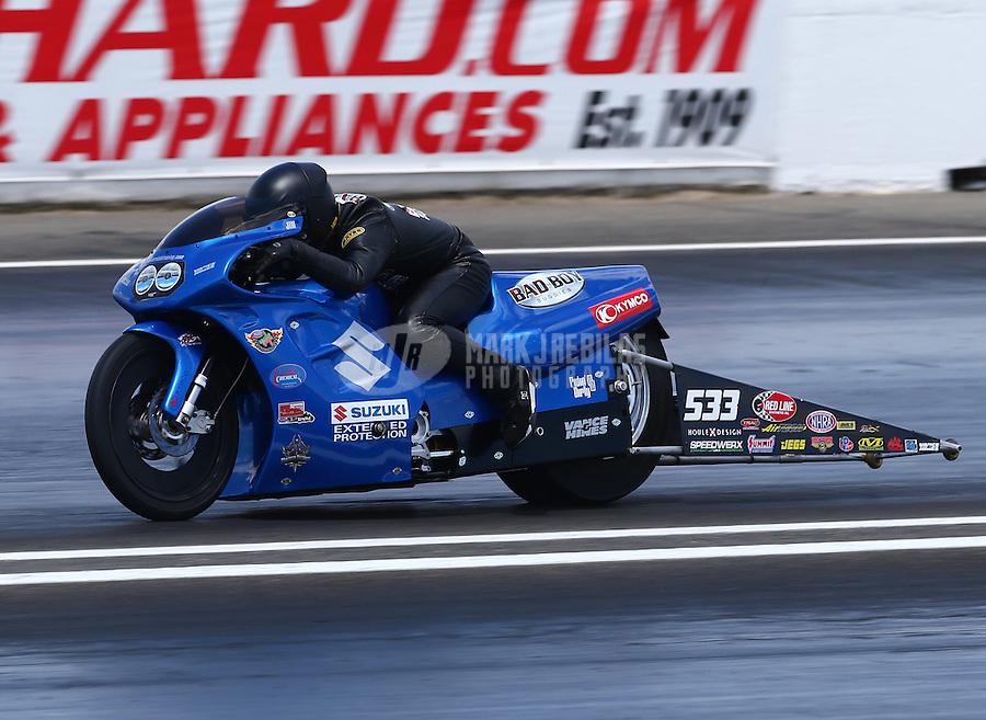 May 31, 2014; Englishtown, NJ, USA; NHRA pro stock motorcycle rider James Underdahl during qualifying for the Summernationals at Raceway Park. Mandatory Credit: Mark J. Rebilas-